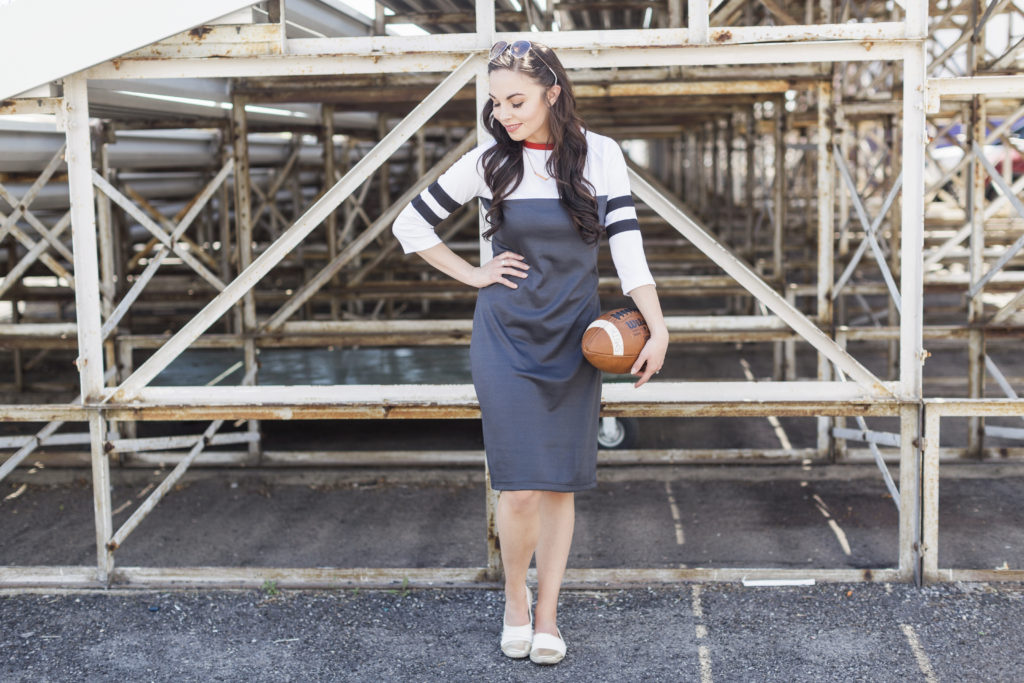 Modest Fashion Blogger Modest Goddess styles a sporty dress, the Kickoff Dress from Shabby Apple, to wear to football games.
