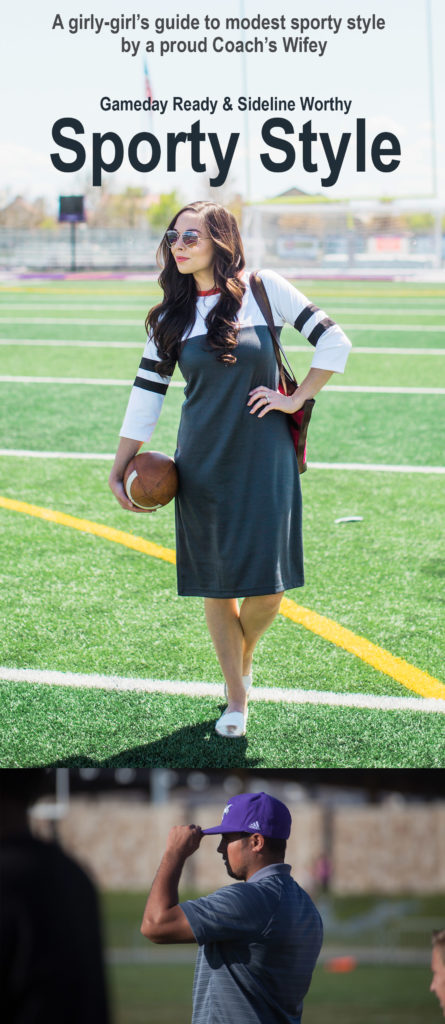 Modest Fashion Blogger and Coach's wife Modest Goddess styles a sporty dress, the Kickoff Dress from Shabby Apple, to wear to football games.