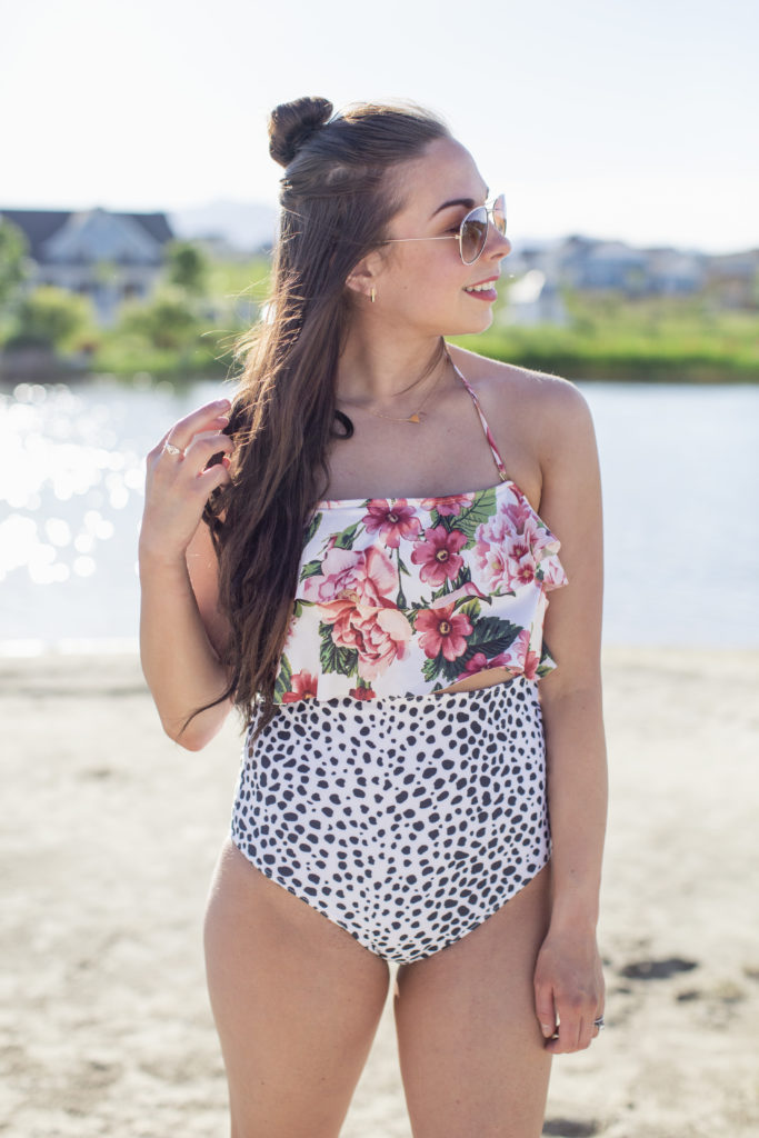 fa55f72f486e9 ... Modest Fashion Blogger modest goddess styles a dalmatian print swimsuit  from layers swim made up of ...