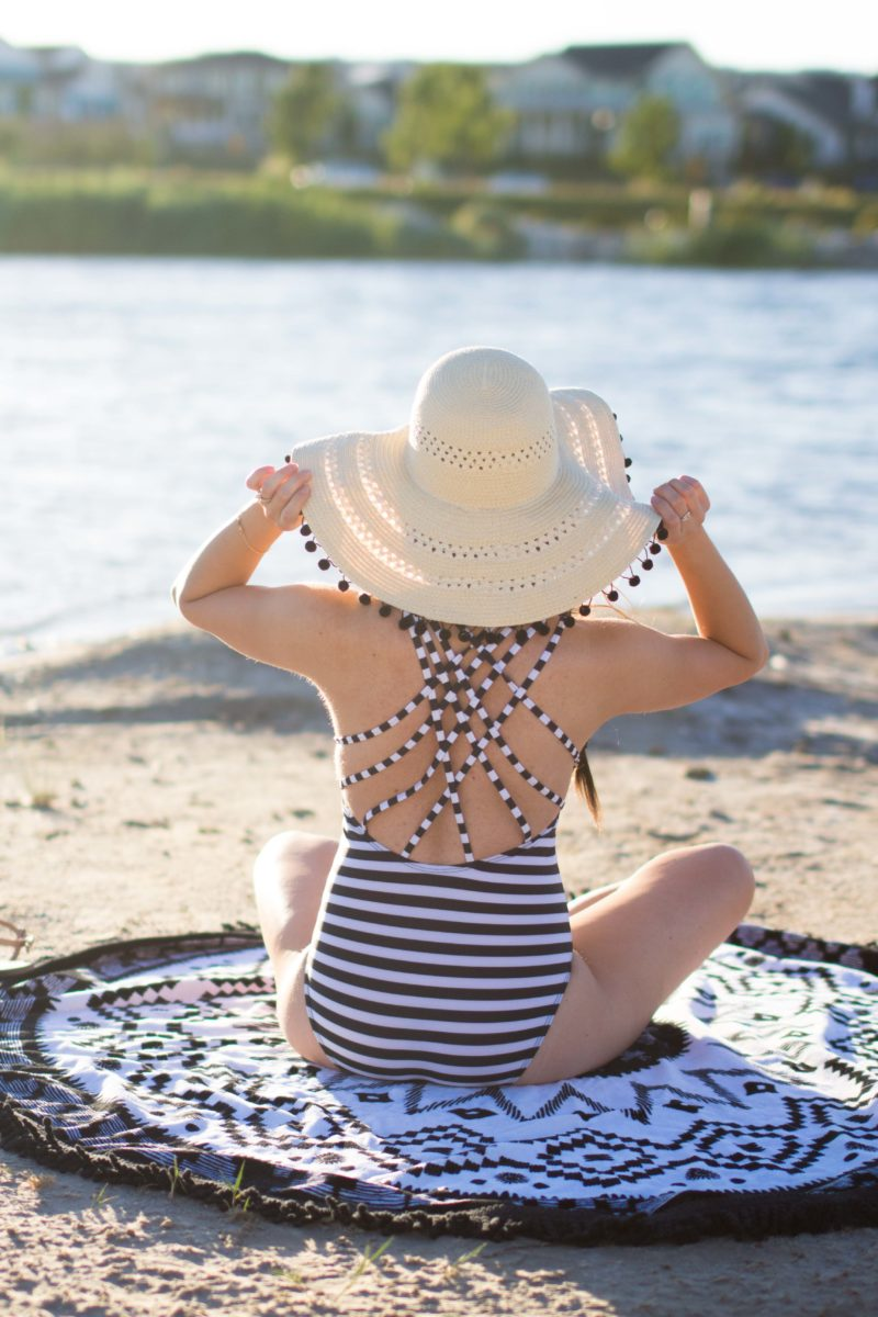 """Strappy Stripes"" Modest Striped One-Piece Swimsuit with a Pretty Back"