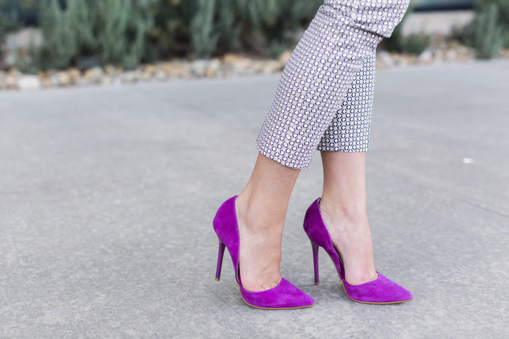 Steve Madden suede heels and Banana Republic printed cropped dress pants.