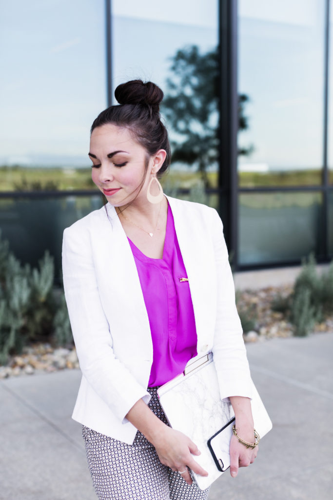 Modest fashion blogger Modest Goddess styles a modest girlboss cute business casual outfit.