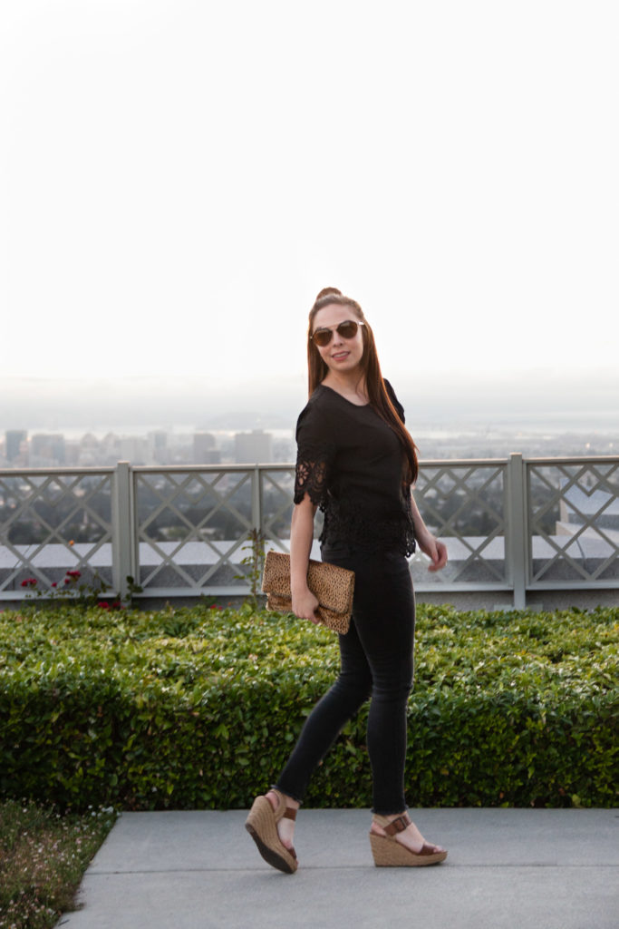 Modest  fashion blogger Modest Goddess styles a black on black chic modest outfit with pops of leopard accents in the East Bay.Modest  fashion blogger Modest Goddess styles a black on black chic modest outfit with pops of leopard accents in the East Bay.