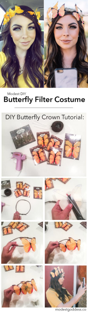 Modest Halloween Ideas and modest halloween costumes featuring this modest halloween costume of a halloween shapchat costume, a DIY butterfly crown tutorial to the butterfly filter crown for a snapchat filter costume!