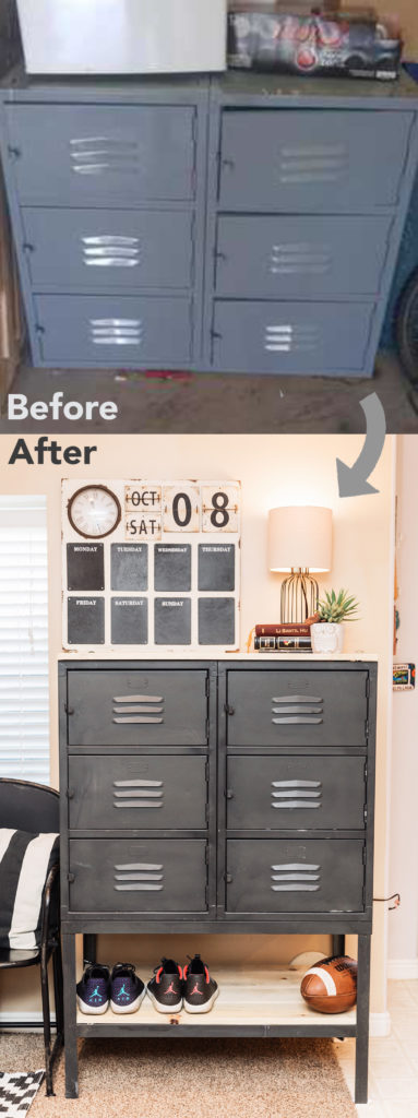 Industrial lockers before and after! Thrifted school lockers turned into a beautiful industrial storage piece for the living room or mud room by Latest Lovely Design!