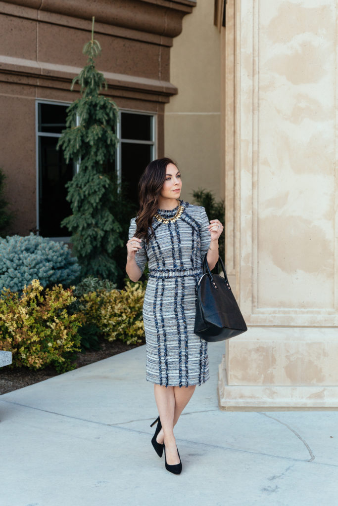 Modest Goddess features a modern navy metallic tweed modest business professional dress by Le Parole from Twirl Dress Boutique.