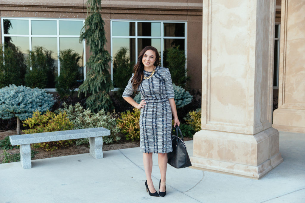 Modest fashion blogger Modest Goddess features a modern navy metallic tweed modest business professional dress by Le Parole from Twirl Dress Boutique.