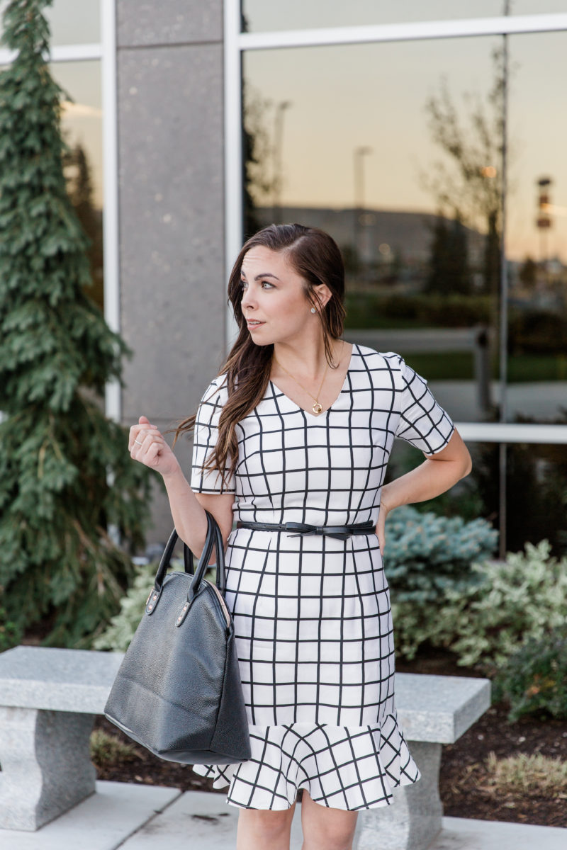 """White Windowpanes"" Thrifted Modest Business Professional Outfit #2: Black & White Windowpane Dress"