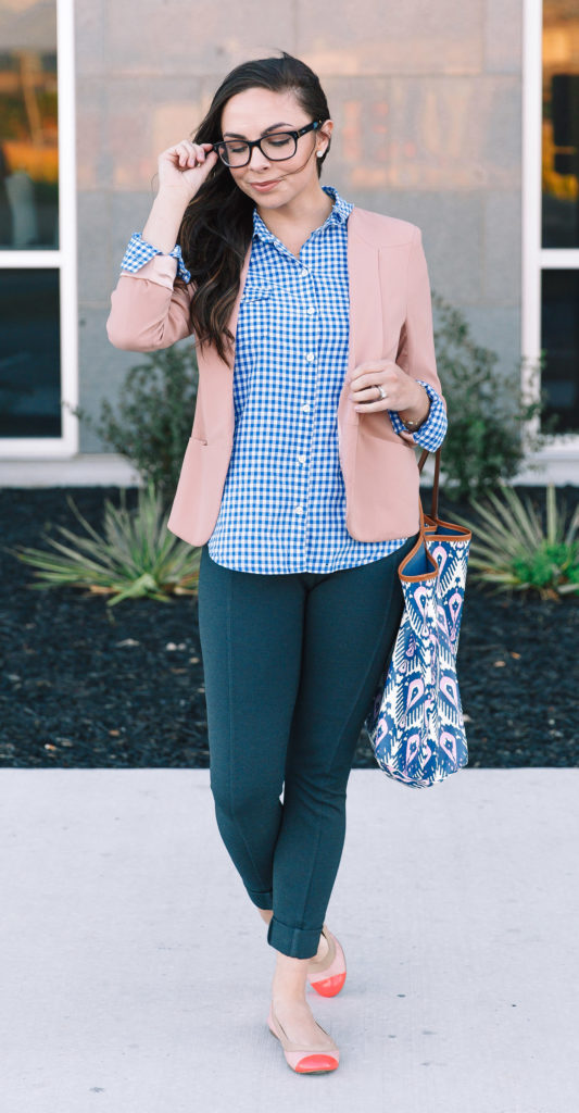 Modest Goddess thrifted business casual outfit - gingham and blush blazer modest business casual outfit