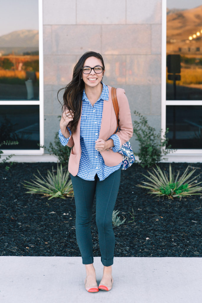 Modest Goddess gingham and blush blazer modest business casual outfit