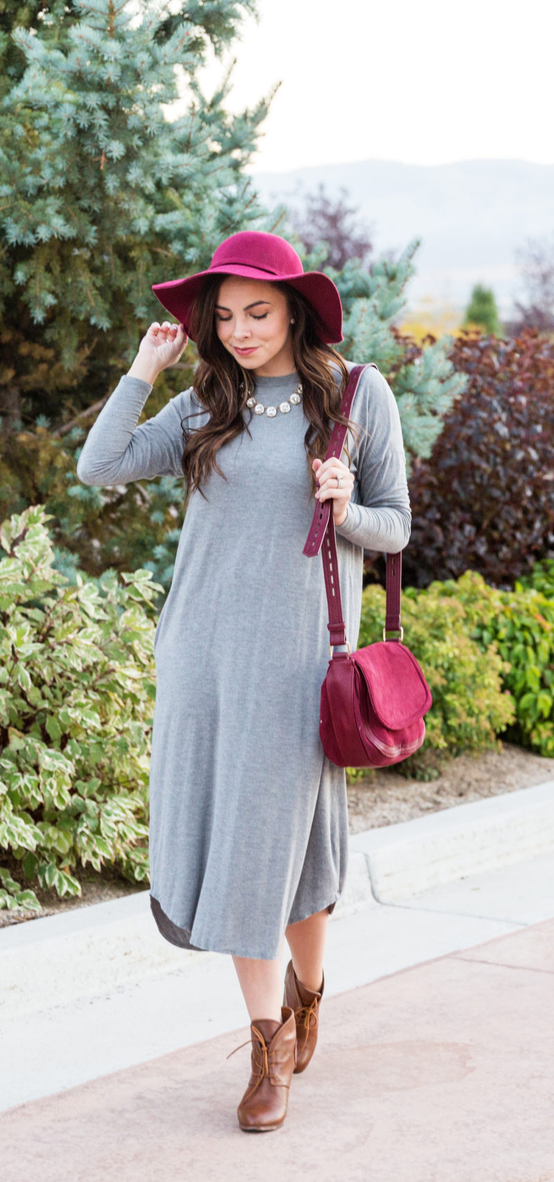 """Pops of Burgundy"" Modest Swing Dress Trend"