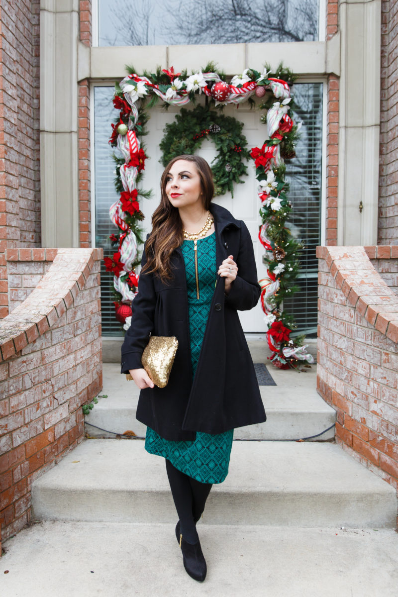 """Evergreen Christmas"" Modest Christmas Dress from Modique"