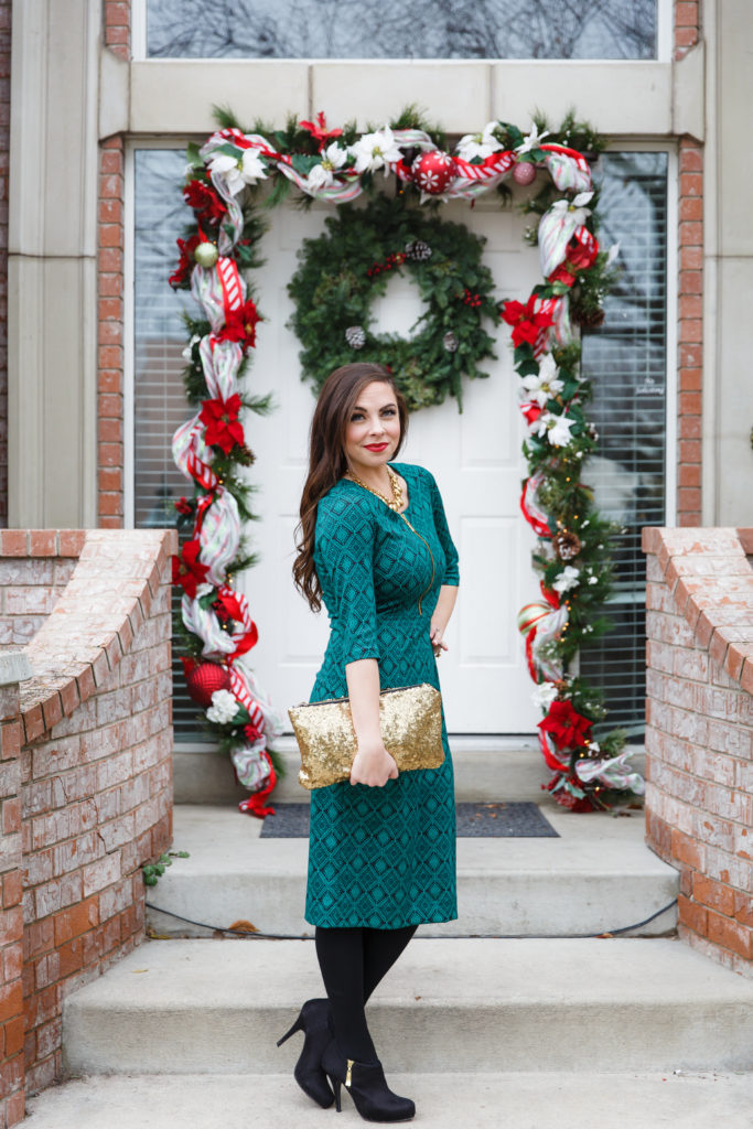 Modest Fashion Blogger Modest Goddess styles an original modest Christmas dress from modest clothing company Modique.