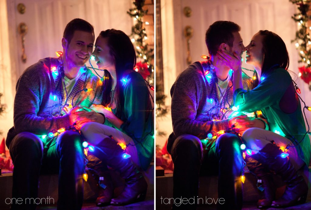Cute Couple's First Christmas Pictures tangled in Christmas lights.