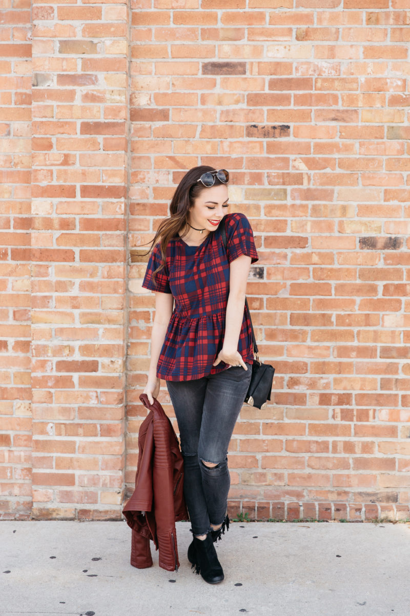 """Plaid Peplum"" Modest Peplum Top Style"