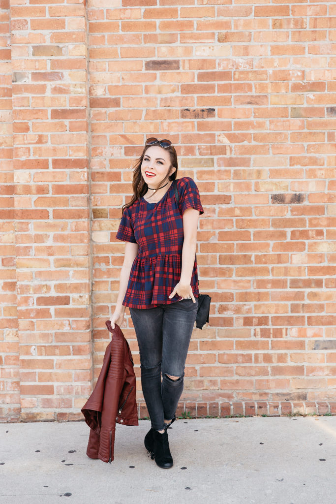Modest fashion blogger Modest Goddess styles a modest plaid peplum top, an original design from modest fashion designer Taylored Fashions.