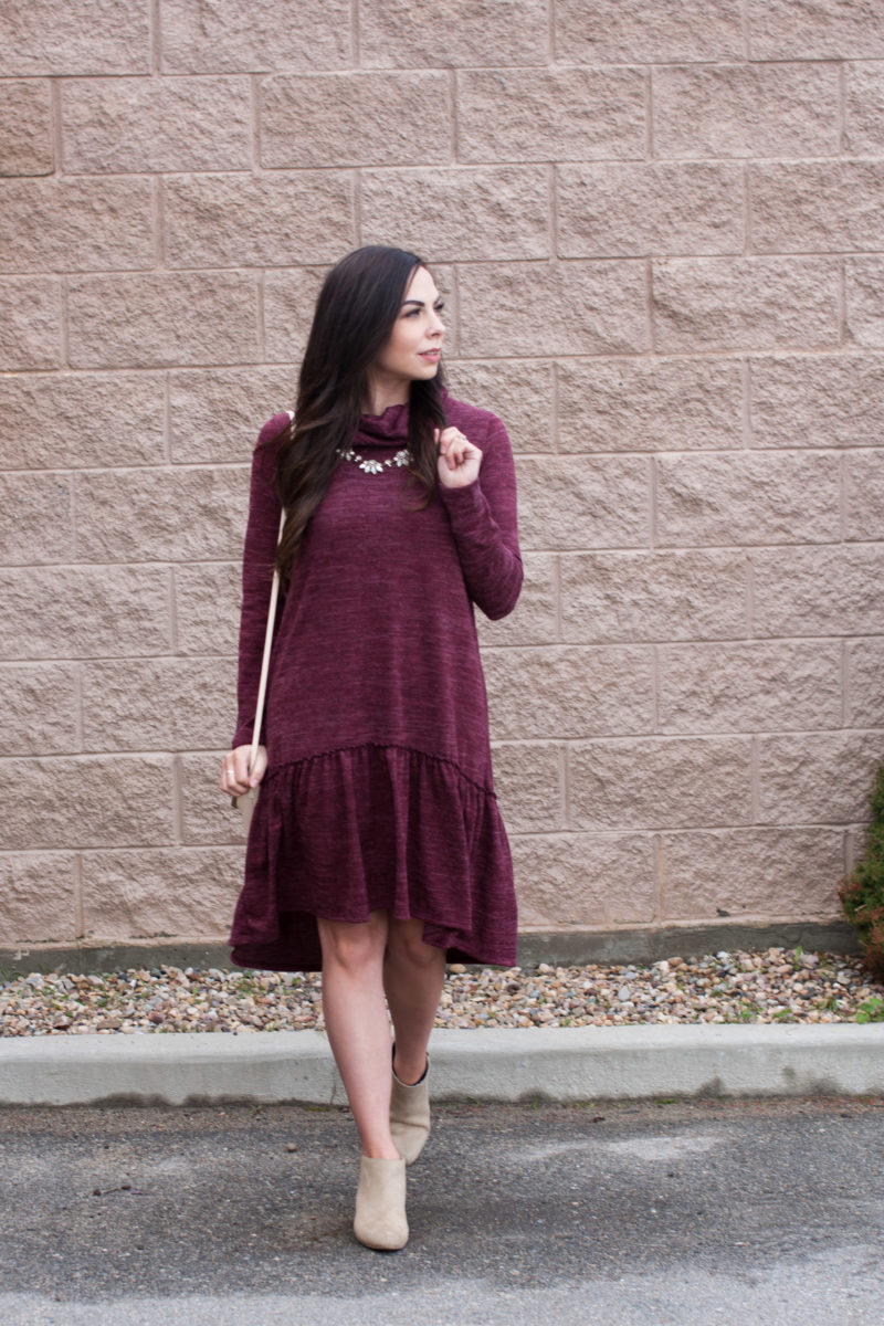 """Berry Peplum"" Casual Berry Peplum Ruffle Dress"