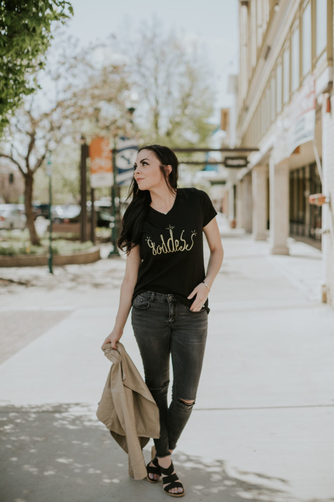Modest Goddess, a modest fashion blogger, wears a custom graphic tee created for her by Simply Sage Market.