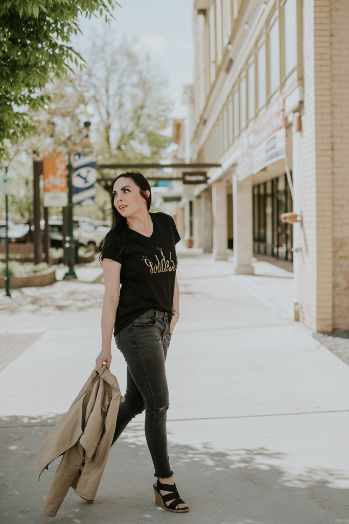 "Modest Goddess, a modest fashion blogger, wears the ""Goddess tee"" a custom graphic tee by Simply Sage Market."
