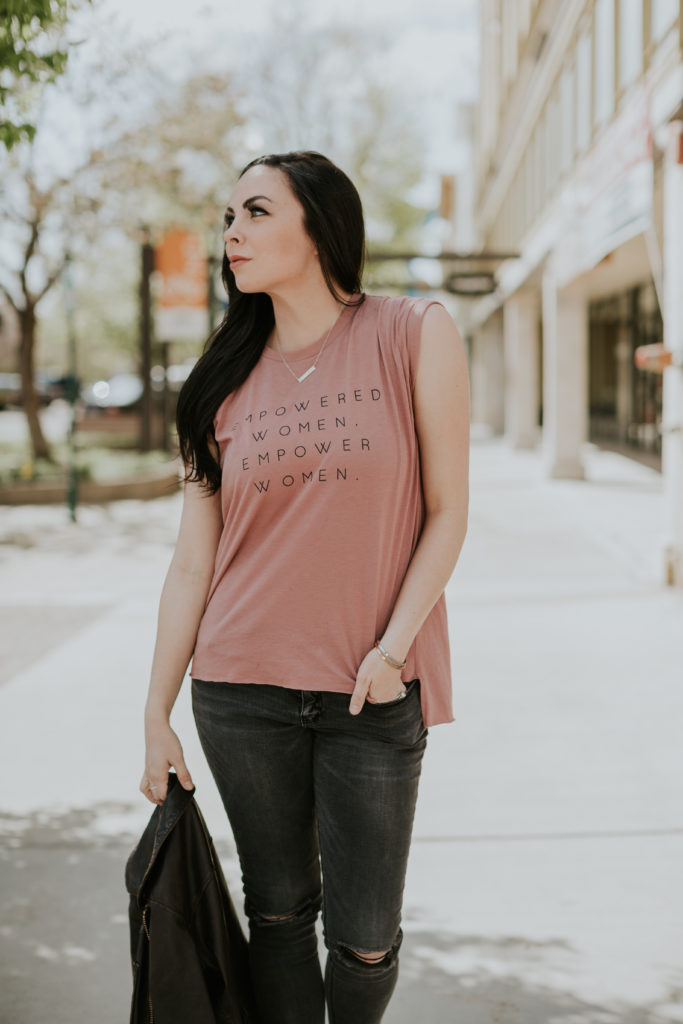 "Modest fashion blogger Modest Goddess styles a blush ""Empowered Women Empower Women"" tee from graphic tee shop Style Lately."