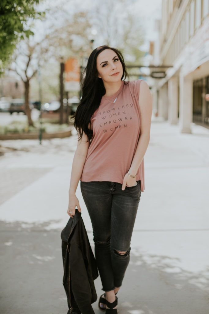 "Modest fashion blogger Modest Goddess styles a ""Empowered Women Empower Women"" blush tee."