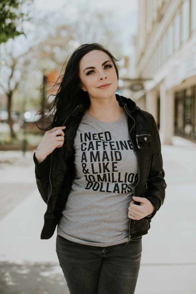 Modest fashion blogger Modest Goddess styles a grey statement tee about caffeine and entrepreneurship.