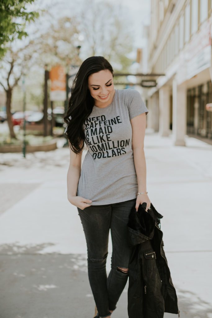 "Modest fashion blogger Modest Goddess styles a grey statement tee ""I need caffeine, a maid, and like 10 million dollars."""