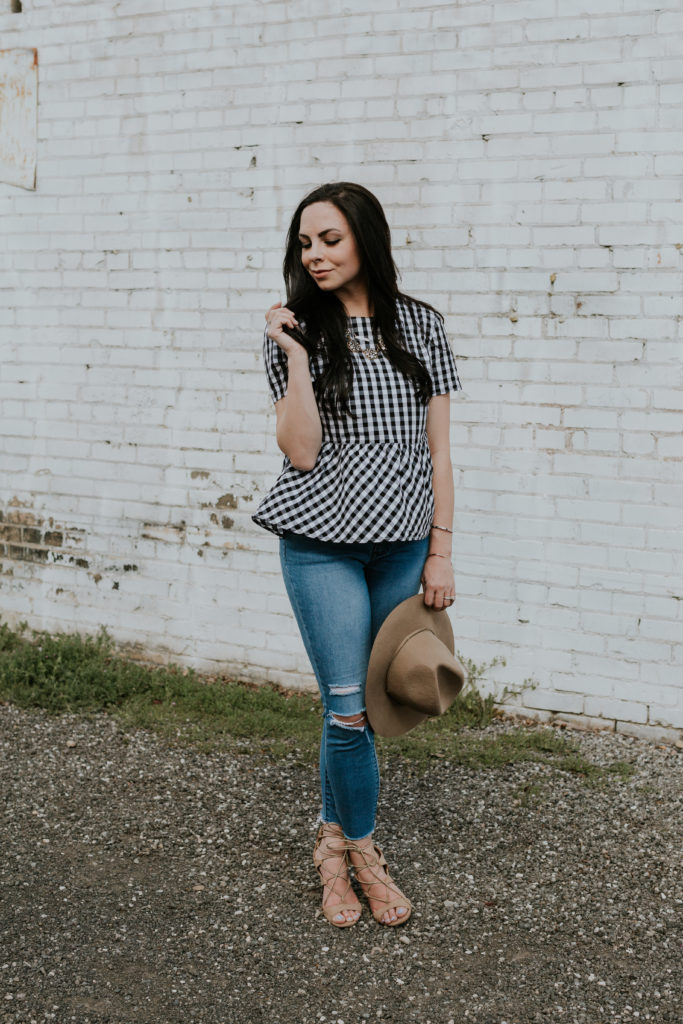 Modest fashion blogger styles a modesty hack of a lace-up gingham peplum top.