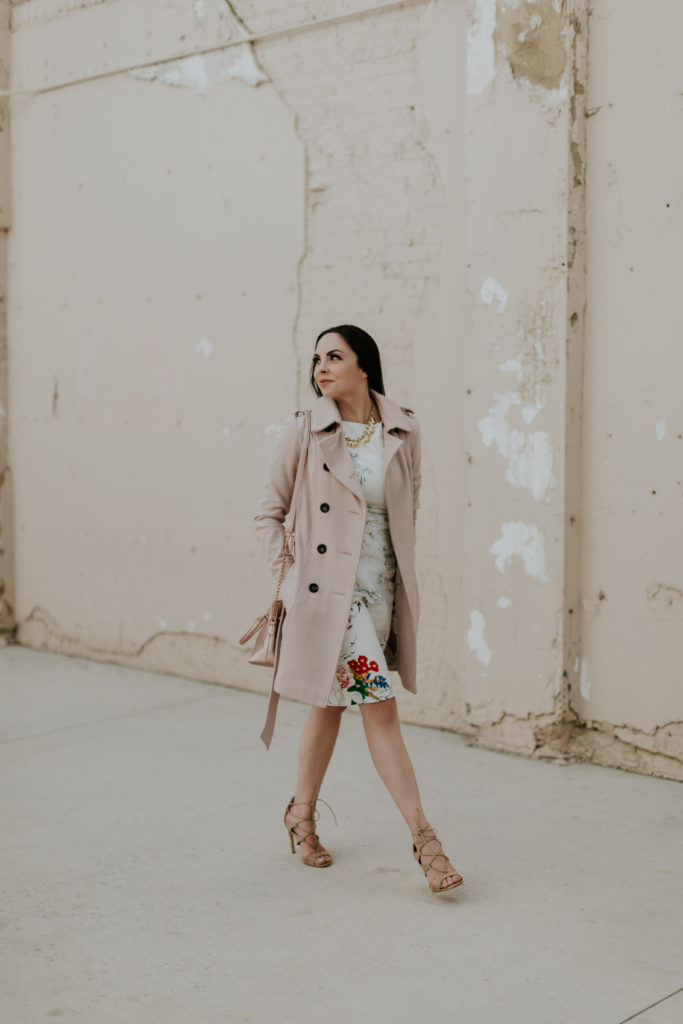 Modest Fashion Blogger Modest Goddess styles a thrifted modest floral dress and blush coat.