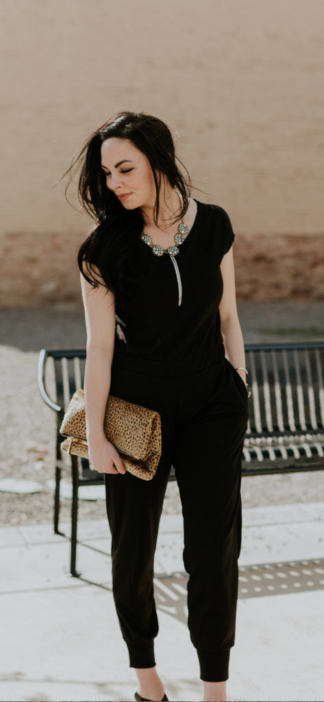 Modest fashion blogger Modest Goddess styles a modest black jumpsuit from shop Carissa Miss.
