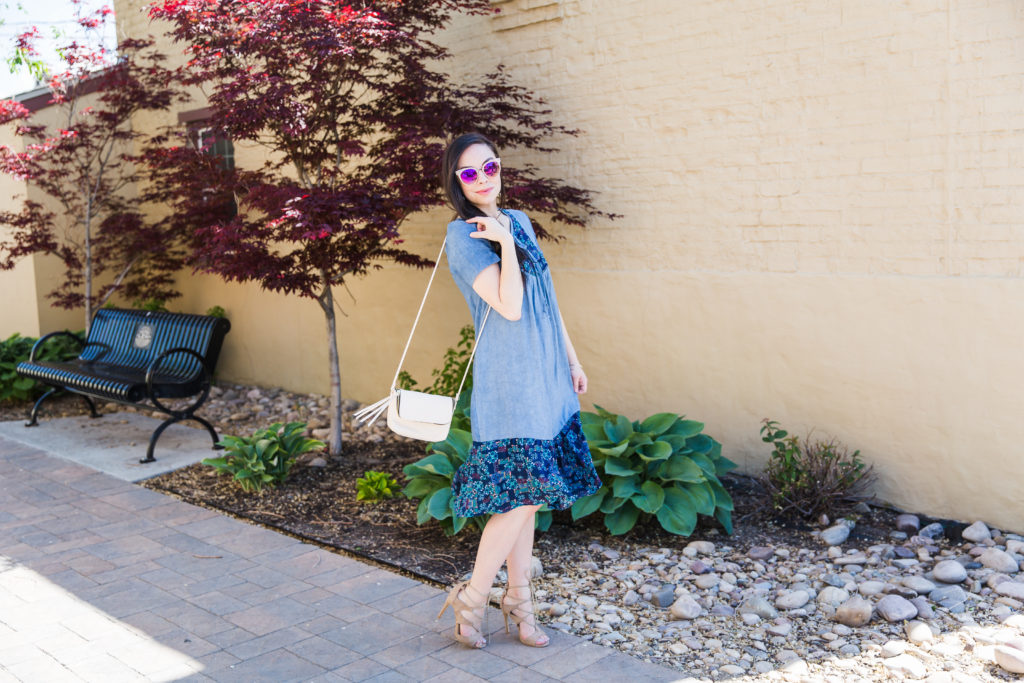 Modest fashion influencer Modest Goddess styles a modest chambray sun dress.
