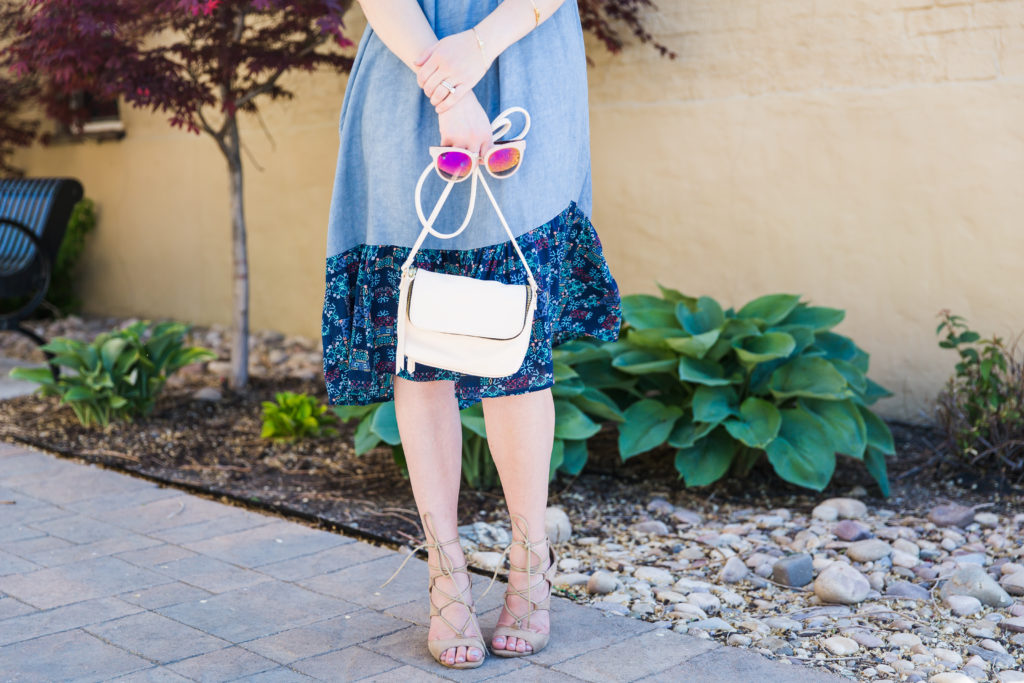 Modest fashion influencer Modest Goddess styles a modest chambray outfit with lace-up heels.