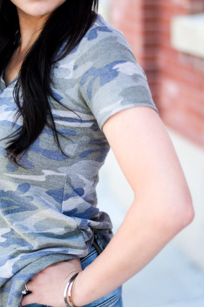 Modest camo shirt patriotic outfit concealed carry style.