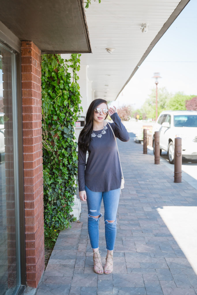 Modest fashion influencer Modest Goddess styles a modest top with no additional layering.