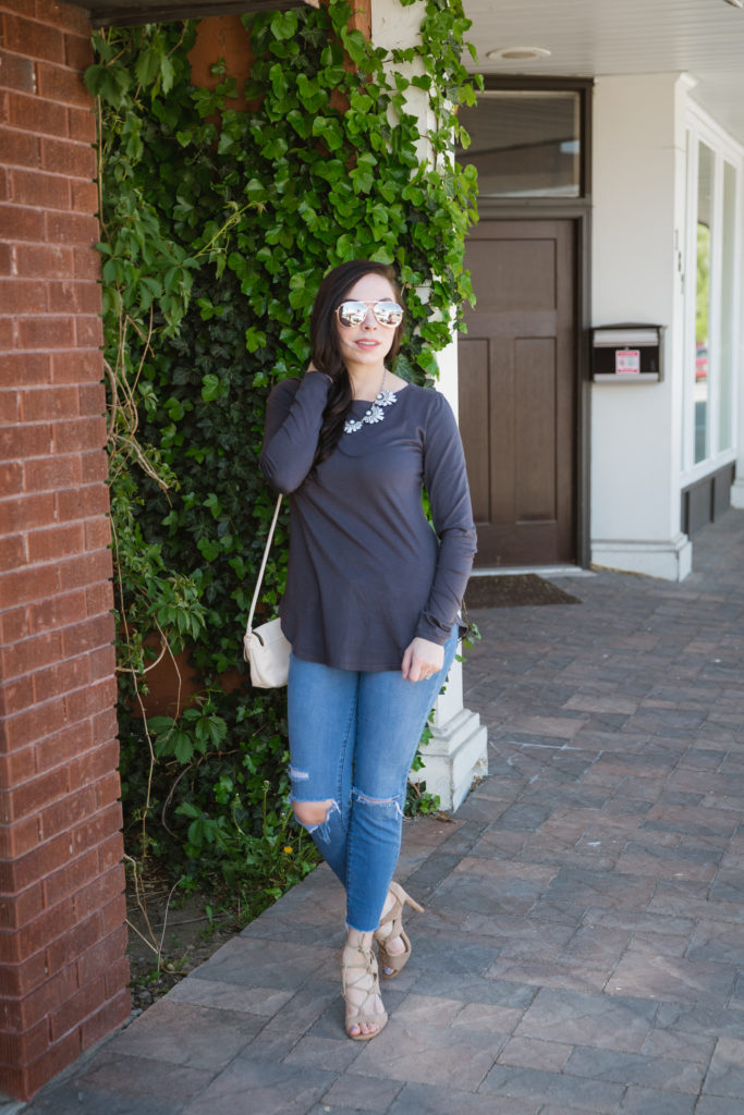Modest fashion blogger Modest Goddess styles a modest top requiring no additional layers.