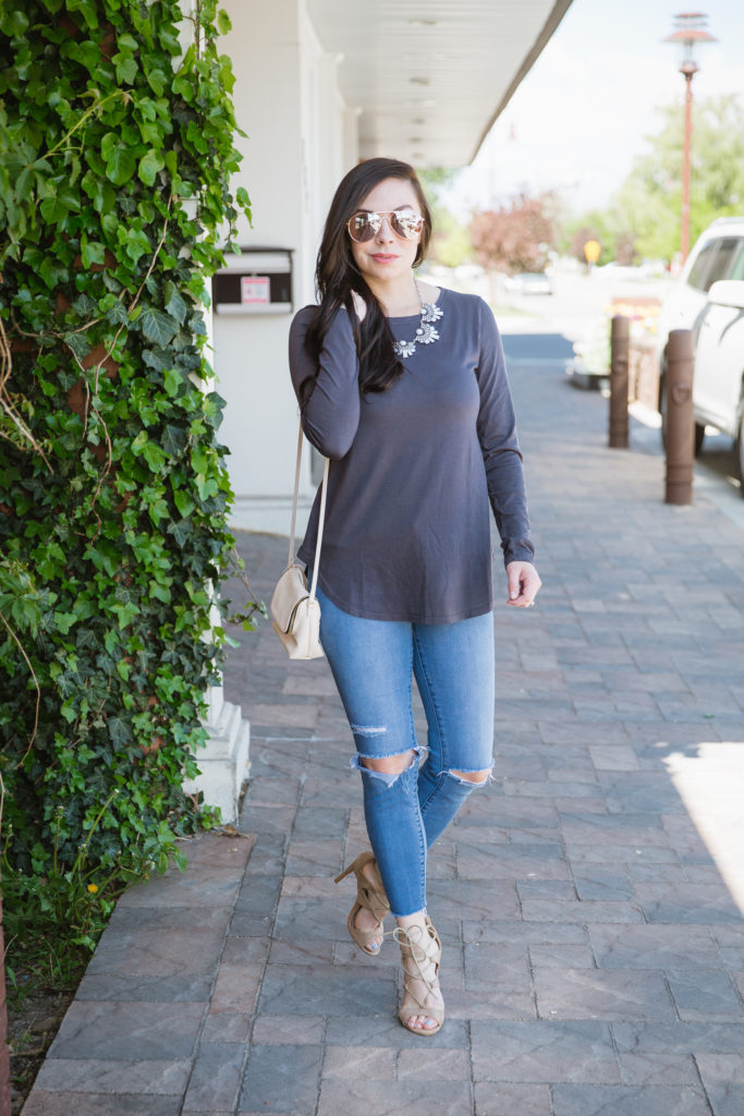 Modest fashion blogger Modest Goddess styles a modest Fig & Lily top with no additional layers.