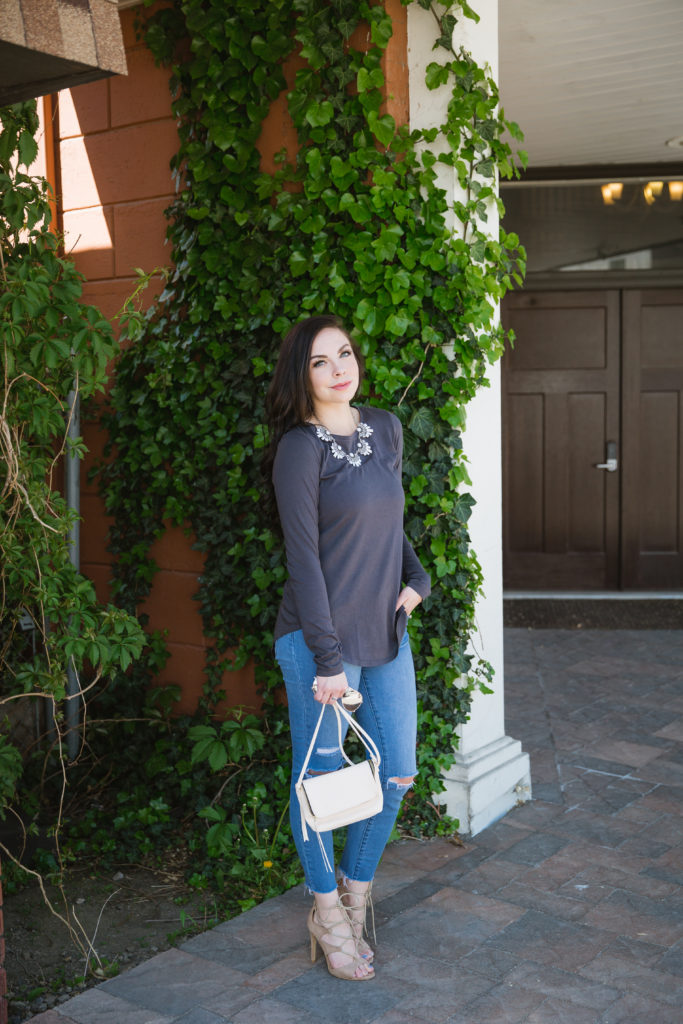 Modest fashion influencer Modest Goddess styles a modest Fig & Lily top.